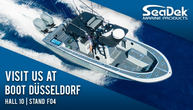 Custom SeaDek on a boat with Details of hall 10, stand F04