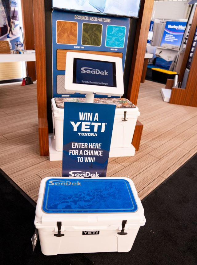 Yeti Tundra 45 complete with Bimini Blue over Cool Gray custom SeaDek Cooler topper featuring a RealTree custom laser print in WAV3.