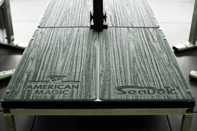 Wood grain laser SeaDek onboard exercise equipment at American Dream HQ, Auckland, New Zealand America's Cup