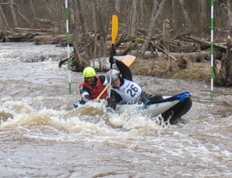 Through the gates in kayak slalom competition with Sea Eagle 380x
