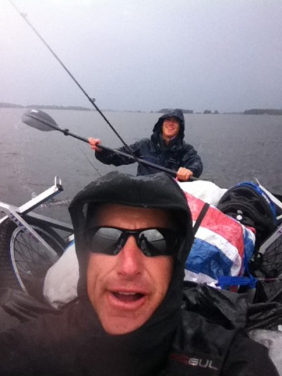 "Gary's biking-and-boating expedition was very challenging at times. ""The storm shot from my iPhone was while Steven and I were crossing Lake Immein in southern Sweden."""