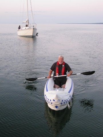 Inspired by the Backs, their friend, Dave, uses his Sea Eagle Sport Kayak as a yacht tender and for pleasure kayaking.