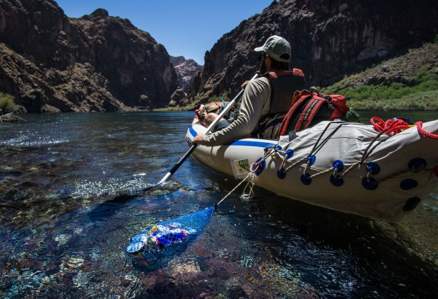 Ryan paddles in Black Canyon on the Colorado River in his Sea Eagle 330. Black Canyon is on the state line between Arizona and Nevada. The western wall is Nevada's El Dorado mountains. The eastern wall is Arizona's Black Mountains.