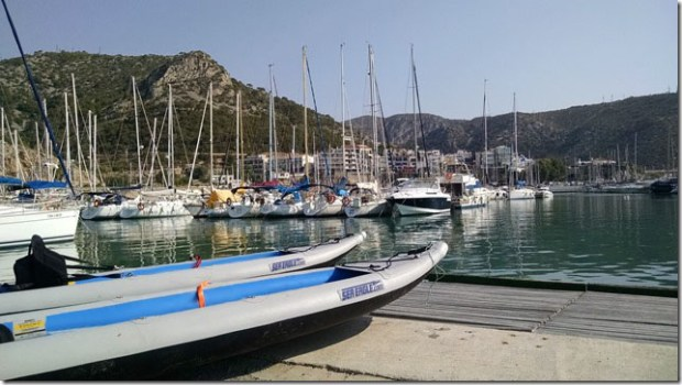 """Bill and Ellen Domb got ready for adventure on the docks at Garraf Harbor in Spain's Costa Brava, the """"Rugged Coast."""" Bill tells us, """"We went north along the cliffs"""""""
