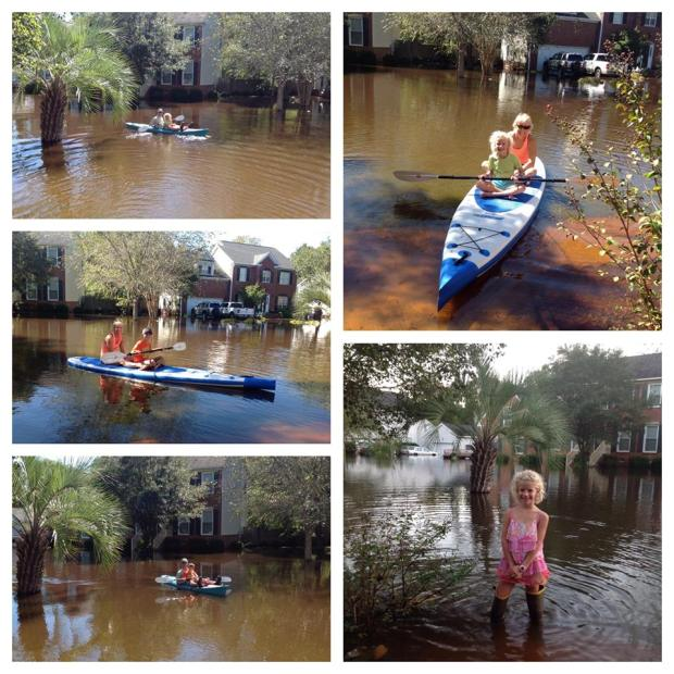 Wendy took neighborhood kids, Avery and Mclain, for paddleboard rides turning what could have been a disaster into a memorable and fun event.