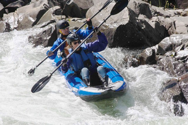 With Class III+ rapids bearing names like Troublemaker, Meatgrinder, Triple Threat, Deadman's Drop, and even Satan's Cesspool, you need a tough kayak and a cast-iron constitution to take on the South Fork of the American River! David and Elizabeth conquer Troublemaker in David's 380x.