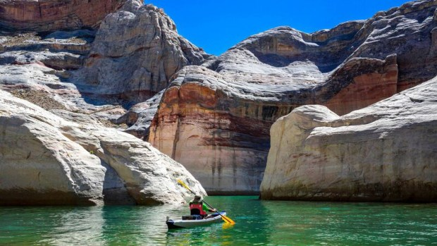 This side canyon off of Warm Creek Bay on Lake Powell is just one beautiful place Matt explored during a 20-mile paddle in his RazorLite™.