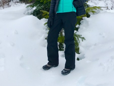 Closeup of me in my tall women's ski pants