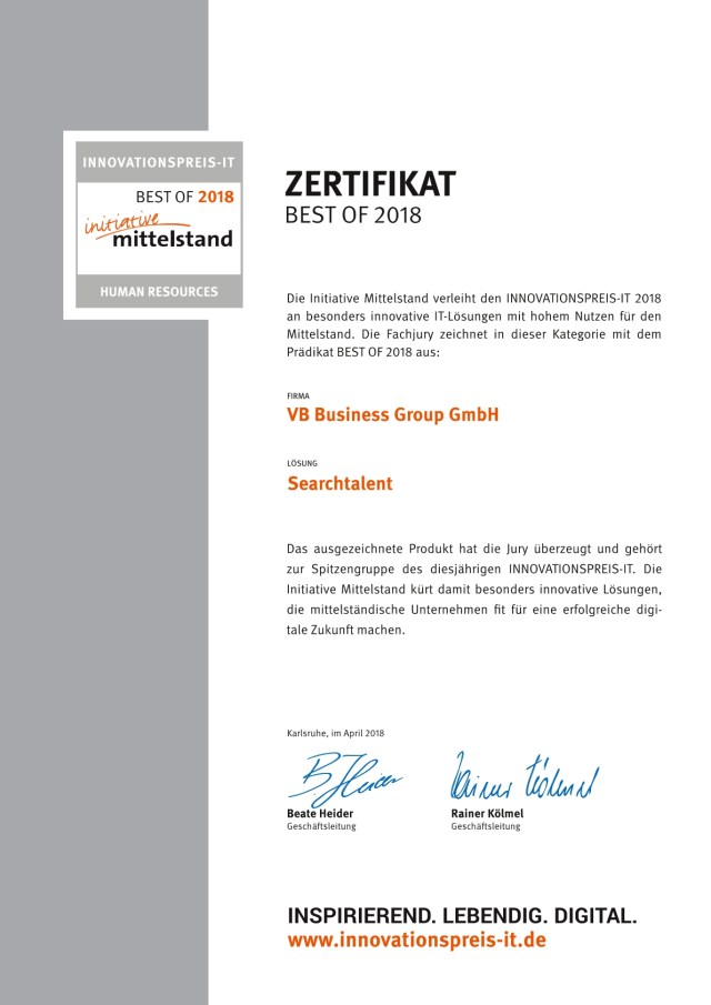 Searchtalent Zertifikat Inovationspreis IT