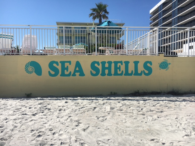 Shot of wall with Sea Shells Beach Club logo on Daytona Beach