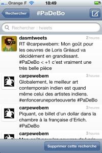 Capture d'écran du hashtag #PaDeBo
