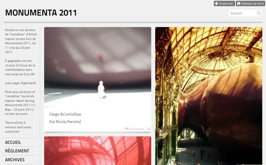 Capture d'écran, Tumblr de la Monumenta 2011