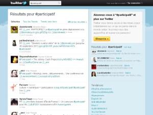 Capture d'écran, le hashtag #participatif sur Twitter
