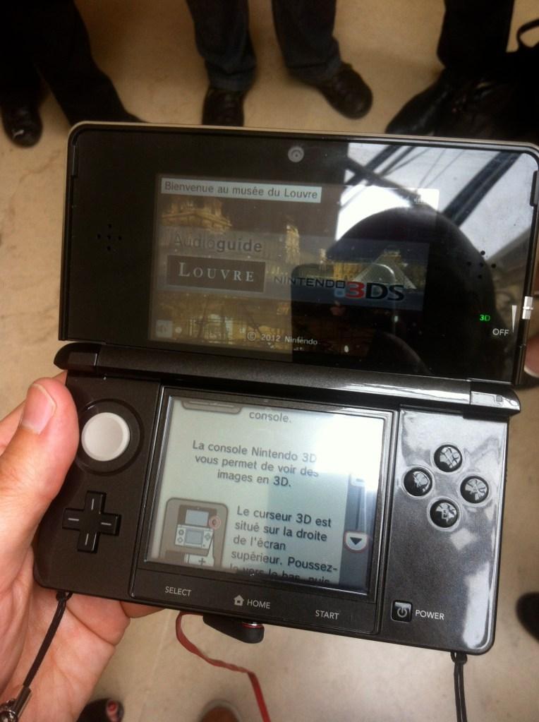Écran d'accueil de l'audioguide Nintendo 3DS