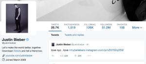 Justin Bieber sur Twitter
