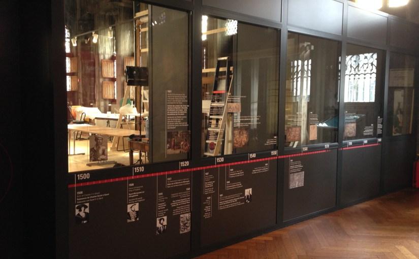 Restauration d'un carton de tapisserie de la Renaissance, musée de la Ville de Bruxelles, mars 2016