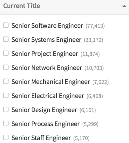 a list of engineer titles in Seekout