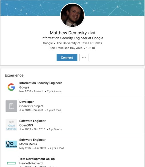 linkedin profile for developers