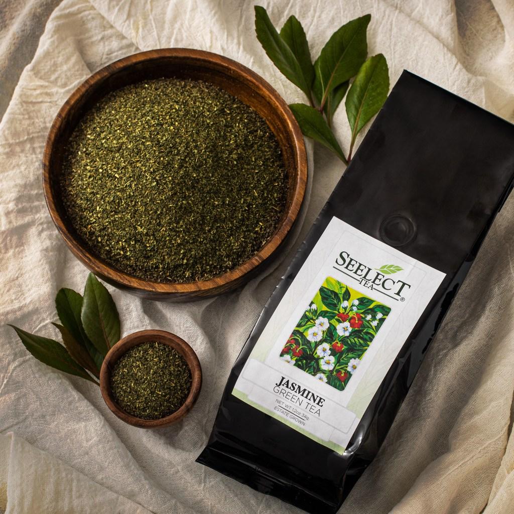 Seelect Tea's Jasmine Estate Grown Green Tea. Shows loose leaf tea in bowls.