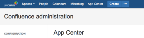 App Center for Confluence - Top level menu