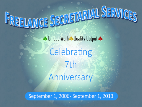 Freelance Secretarial Services 7 year anniversary
