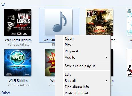 Album Art: Windows Media Player