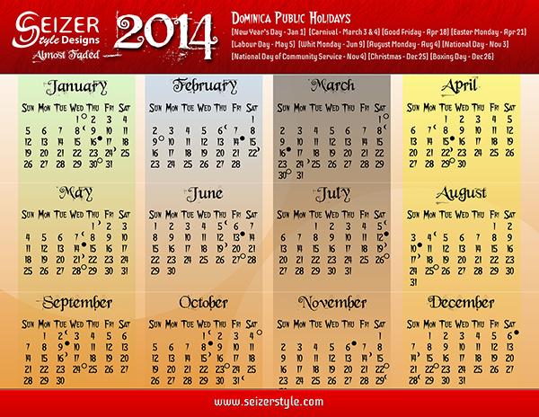 2014 Calendar: Almost Faded