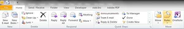 Outlook Rules Toolbar
