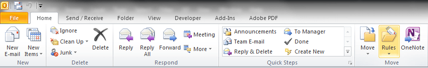 Outlook Rules Toolbar