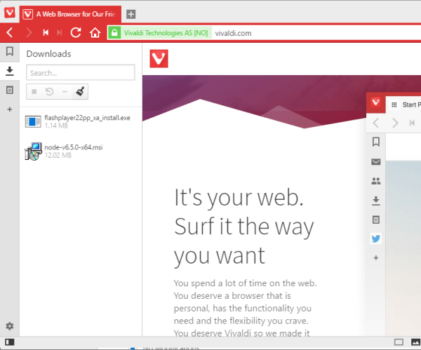 Vivaldi downloads panel