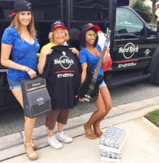 Darleen proudly accepted the Hard Rock Energy swag on behalf of her husband!