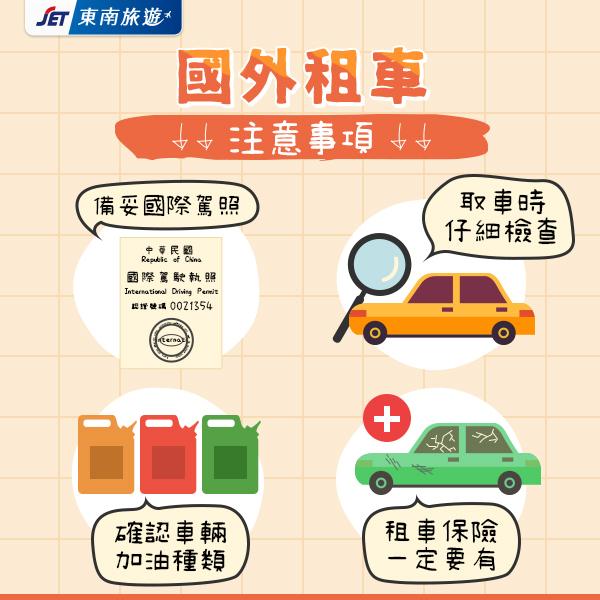 國外租車(取)車以下幾點請再次確認 ✅備妥國際駕照 ✅取車時仔細檢查車輛內外觀 (如外觀有損毀處記得拍照留底) ✅確認車輛油箱位置,加油種類 (國外加油站多為自助加油) ✅必買當地「租車保險」|東南旅遊