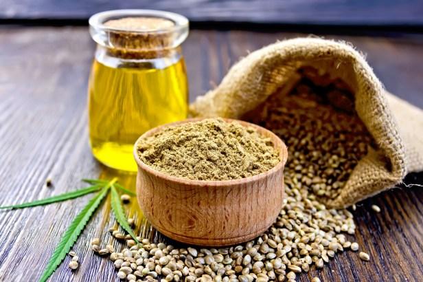 Farine, huile et graines de chanvre