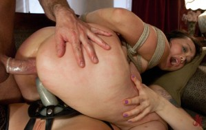 Tied up Asian slave gets fucked in her pussy by Sir and in the ass by Mistress