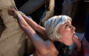 Collared and tied up blonde slut takes a thick cock down her throat like a professional in bondage sex