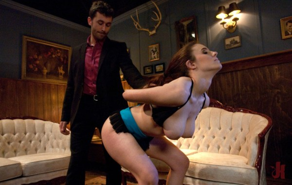 Submissive brunette is pulled by her hair while having her holes inspected by Sir