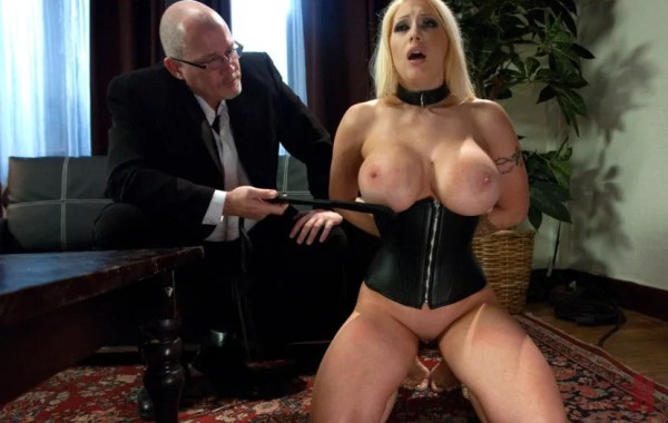 Busty collard blonde gets her big breasts paddled while standing on her knees in brutal sex