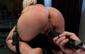 Blonde slut gets bound in leather and has her pussy toyed with an electrical toy in extreme fetish sex