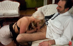 Young and sexy blonde sucks off an older rich guy's big cock on a beautiful, white couch