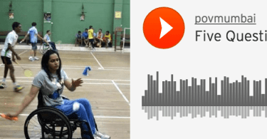A photo of Kartiki Patel in a wheelchair playing badminton.