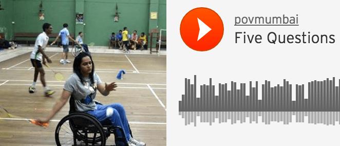 A photo of Kartiki Patel in a wheelchair playing badminton.