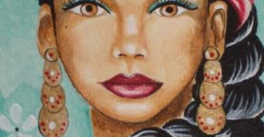 A sketch of a woman wearing dangler and a bindi. She is staring straight ahead.