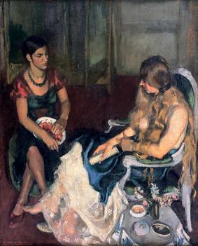 A painting called Young Girls, 1932, by Amrita Sher-Gil. Two women seated on chairs face each other.