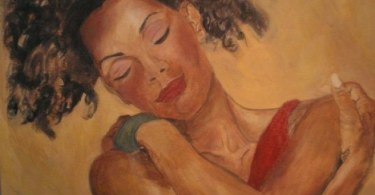 A painting of a woman hugging herself.
