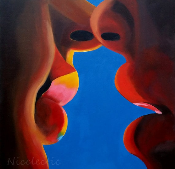 A close-up painting, showing the lips of two people about to kiss by Nicole Roggeman.