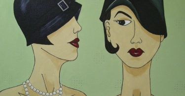 An art deco style painting of two women wearing cloche hats. The one on the left is looking at the one on the right.