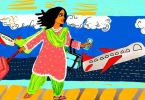 A woman with brown eyes, who is wearing a pink kurta, and lime green salwar and dupatta, walks looking straight head. Her hair is flying behind her, and she is holding what looks like a boarding pass with one hand, while she wheels a large red suitcase with the other. In the background, a huge window shows one plane taking off, while one waits on the tarmac. On the airport walls ahead of the woman, there is a mural depicting a cupcake, a laptop, a book, and a briefcase.
