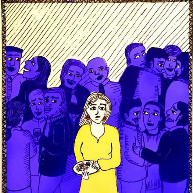 The illustration shows a woman in a yellow dress with a plate full of food in her hands. She is surrounded by people, tinted in blue who are engrossed in each other, some looking at her but not talking to her.