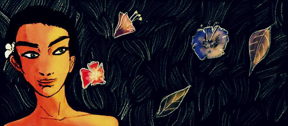 The illustration is set against a dark, bluish-black background with leaves spread all over. On the left is a mugshot of a person, who has close-cropped hair. The person has a flower tucked behind their left ear.