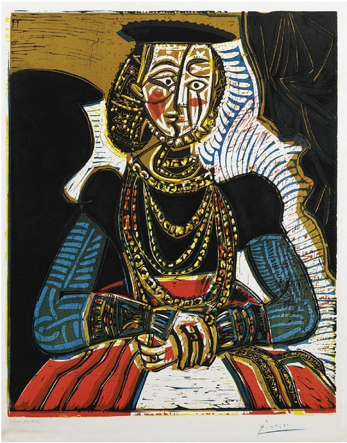 A painting of a woman wearing a hat, several gold necklaces and a blue, black and red dress.